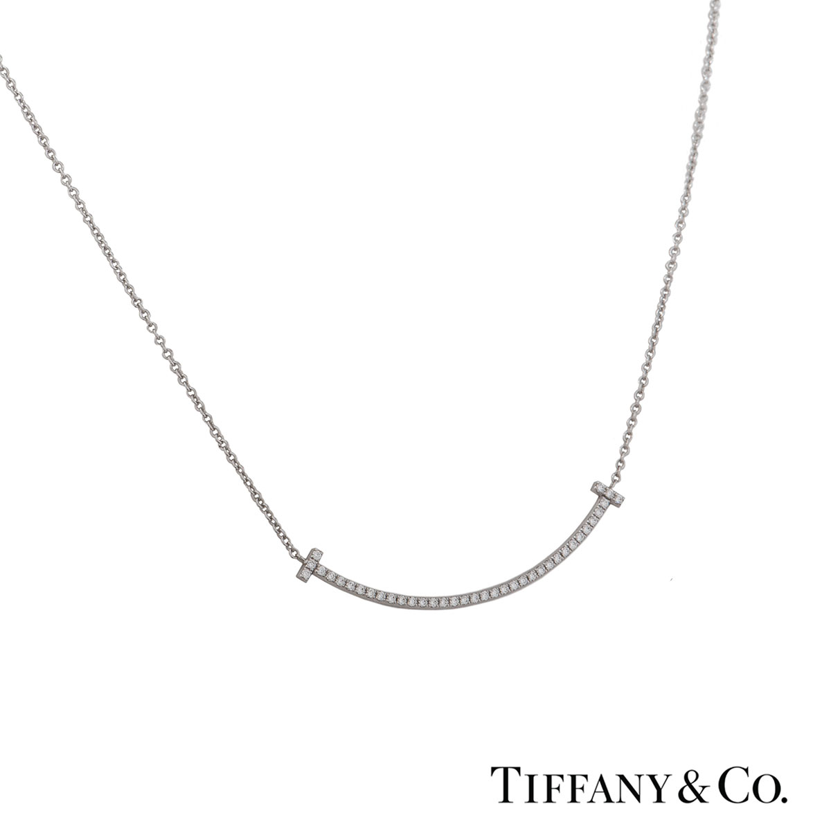 Tiffany & Co. White Gold Diamond T Smile Pendant